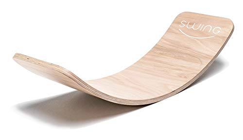 Puppenvilla Swing Balance Board aus Holz Transparent Lackiert, Yoga Kinder Wippe Therapie Kreisel Wackel Brett...