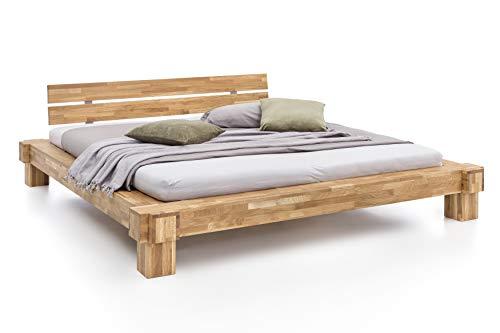 Unbekannt Massivholz-Bett Kavas aus Wildeiche, Balkenbett, massives Holzbett als Doppel- und Komfortbett...