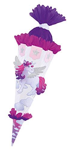 folia 92203 - Schultüten Bastelset Einhorn, inklusive Schultütenrohling aus 3D Wellpappe ca. 68 cm,...