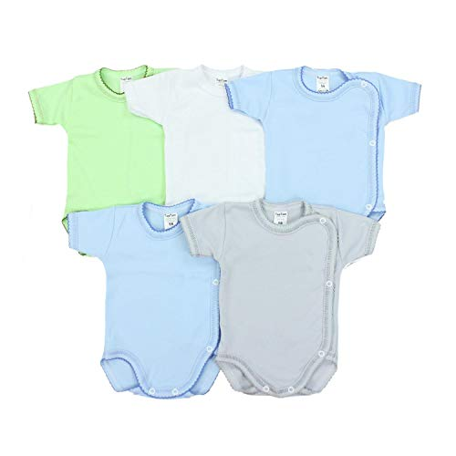 TupTam Unisex Baby Kurzarm Wickelbody Baumwolle 5er Pack, Farbe: Junge, Größe: 62