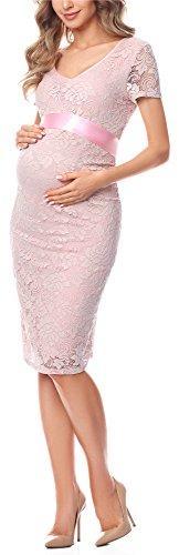 Be Mammy Damen Umstandskleid festlich aus Spitze Kurze Ärmel Maternity Schwangerschaftskleid BE20-162...