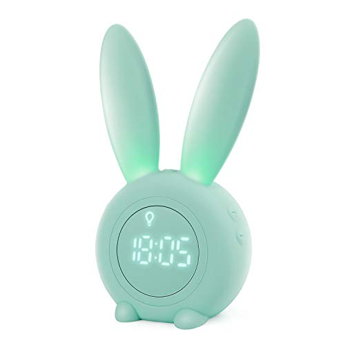 Homealexa Kinder Lichtwecker Cute Rabbit Wake Up Kinderwecker Creative Nachttischlampe Snooze-Funktion,...