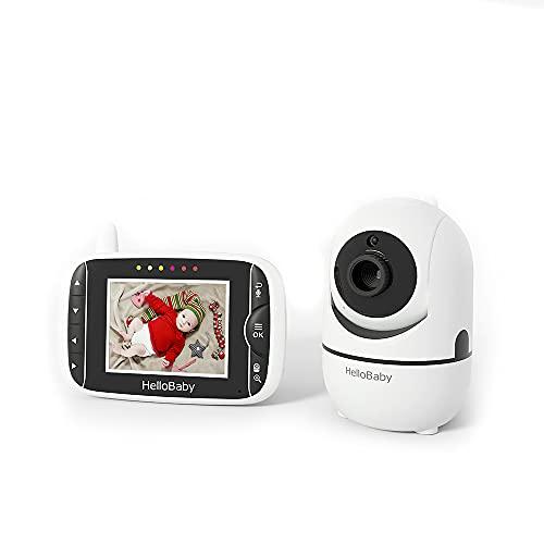 Babyphone mit camera, HelloBaby Babyphone mit ferngesteuerter Schwenk-Neige-Zoom-Kamera,3,2'' LCD-Bildschirm,...