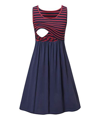 Love2Mi Damen Umstandskleid Streifen Stillkleid Ärmellos Schwangere Sommerkleid-Roter Streifen / Blau-S