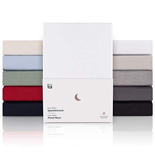Blumtal Premium 2er Set Spannbettlaken 90x 200 - Superweiches 100% Baumwolle Spannbetttuch, bis 25cm...