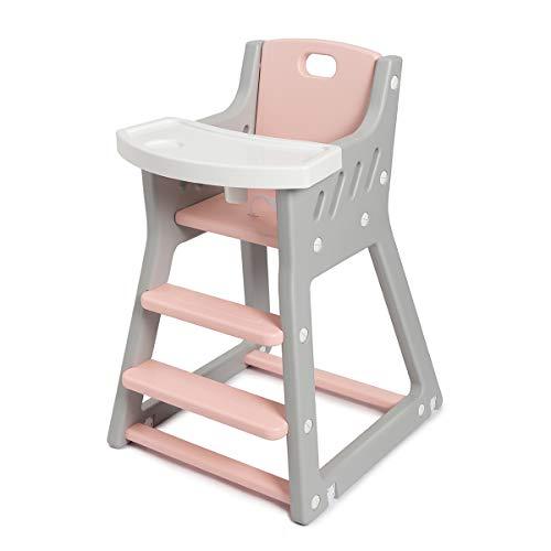 Hochstuhl für Babys, Waschbar Babyhochstuhl Kinderhochstuhl, mit abnehmbarem Tablett, Sicherheitsgurt und...