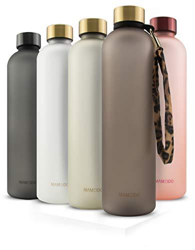 MAMEIDO Trinkflasche 1l - auslaufsicher, Kohlensäure geeignet - Zeitmarkierung als Trinkerinnerung -...