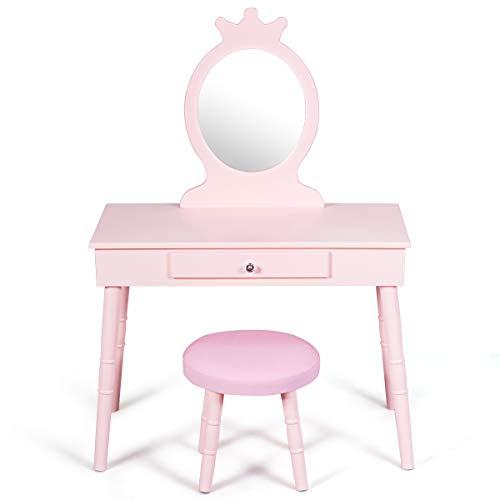 COSTWAY Kinder Schminktisch, Make up Tisch mit Hocker und abnehmbarem Spiegel, Frisierkommode Holz, Mädchen...