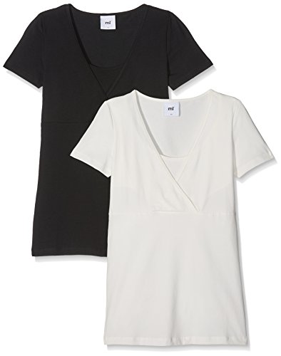 MAMALICIOUS Damen MLLEA Organic TESS S/S TOP NF 2PACK NOOS Umstands-T-Shirt, Schwarz (Black Pack:Snow White),...
