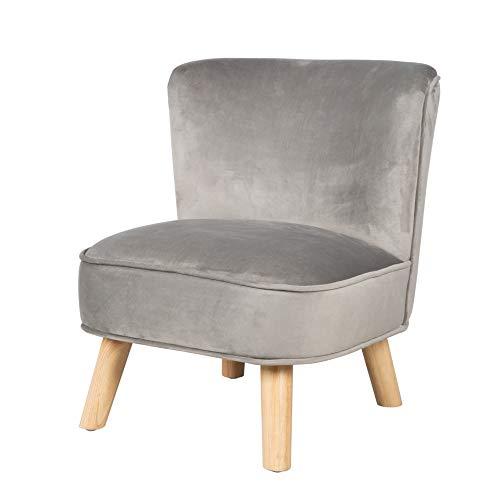 """roba Kindersessel """"Lil Sofa"""" für Jungen und Mädchen, bequemer Sessel mit stabilen Holzfüßen und grauem..."""