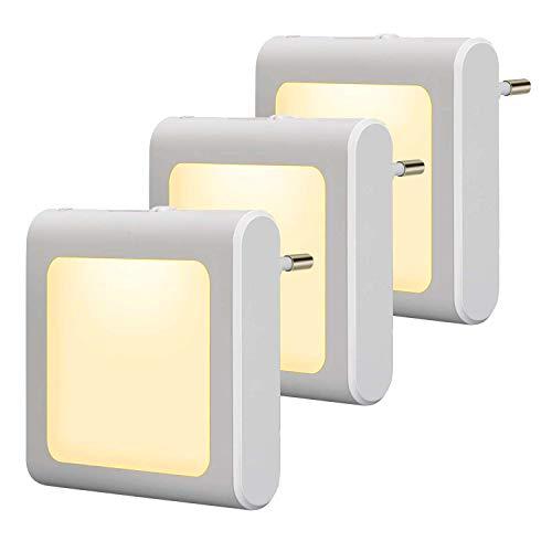 3 Stück LED Nachtlicht Steckdose mit Dämmerungssensor, Helligkeit Stufenlos Einstellbar Energiesparend Baby...