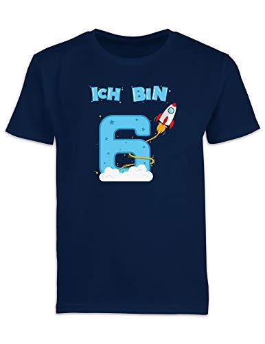 Shirtracer Ich bin Schon 6 Geburtstag Rakete Jungen T-Shirt (Navy, 7-8 Jahre 122-128 cm)