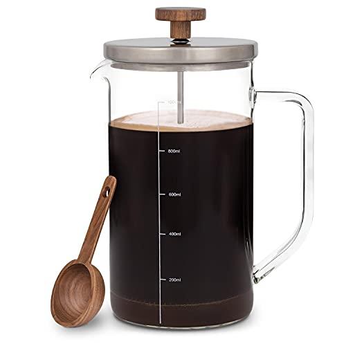 GLASWERK Design French Press (1L) - Kaffeebereiter mit Portionierlöffel aus Walnussholz und Edelstahldeckel -...