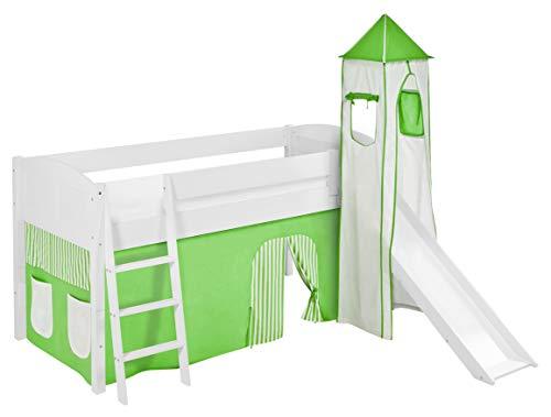 Lilokids Spielbett IDA 4106 Grün Beige-Teilbares Systemhochbett weiß-mit Turm, Rutsche und Vorhang...