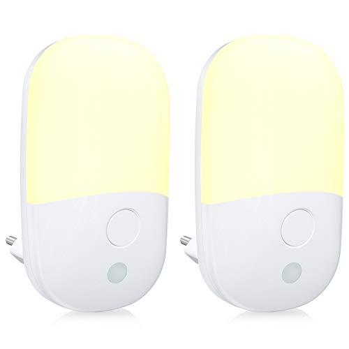 Nachtlicht Steckdose mit Dämmerungssensor & Helligkeit Einstellbar Warmweiß LED Lampe Kind, Babyliya 3 Modi...