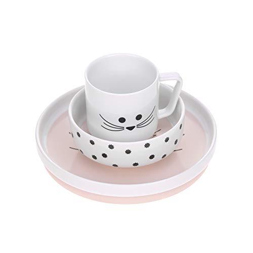 LÄSSIG Geschirrset Porzellan Kindergeschirrset Teller Schüssel Tasse mit Silikonring rutschfest...