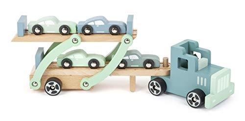 Small Foot 11510 Autotransporter Chicago aus Holz,mit beweglicher Laderampe,abnehmbarem Anhänger und 4...