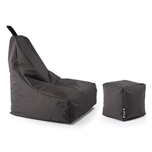Patchhome Lounge Sessel + Würfel XXL Gamer Sitzsack Sitzkissen Sitzsäcke Erwachsene Riesensitzsack Kinder...