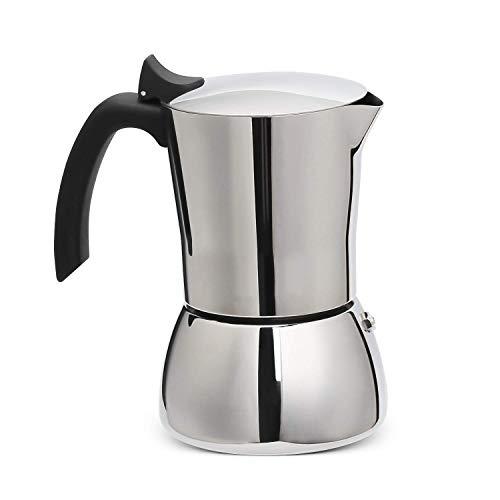 Resnnih Espressokocher Mokkakanne für induktion Edelstahl Espresso Maker 6 Tassen für Gas, Elektro-Herd und...
