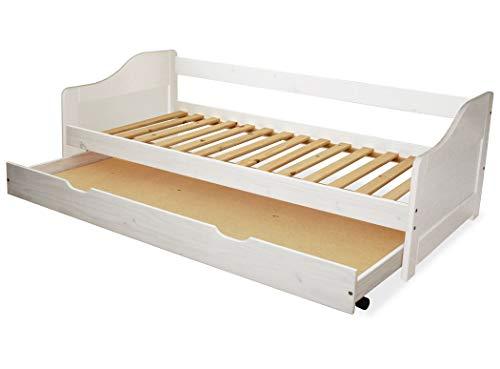 KMH®, Kinderbett/Ausziehbett mit ausziehbarem Bettkasten, incl. Lattenrost (90 x 200 cm/Weiss) (#201101)