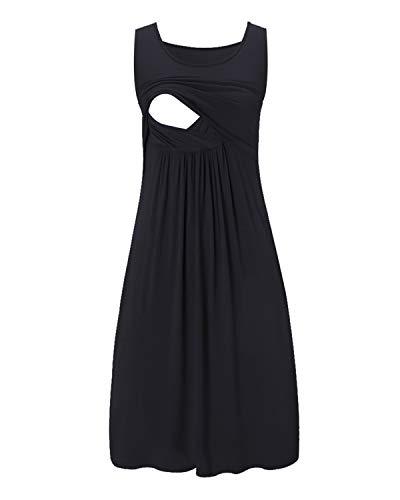 Love2Mi Damen Umstandskleid Streifen Stillkleid Ärmellos Schwangere Sommerkleid-Schwarz-L