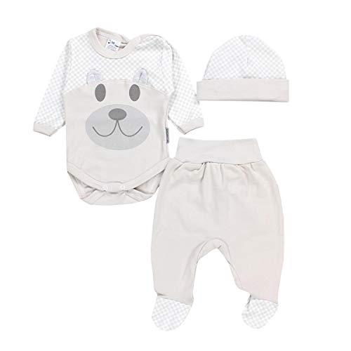 TupTam Baby Kleidung Set Body Strampelhose Mütze Bekleidungsset Jungen Mädchen, Farbe: Bär/Beige, Größe:...