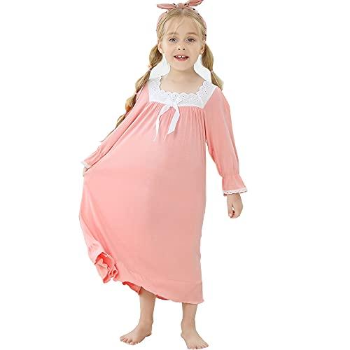 Flwydran Nachthemden Mädchen Langarm Weich Familien Schlafanzug Lang Nightdress Sleepwear (6-7 Jahre, Pink)