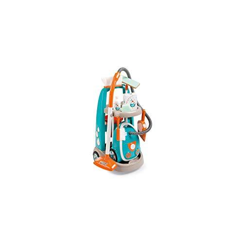 Smoby 330309 Spielzeug Reinigungstrolley mit Staubsauger inkl. Soundgeräuschen, Schaufel, Besen, Wischmopp,...