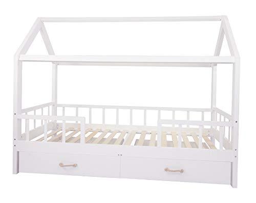 Puckdaddy Hausbett Carlotta – 200x90 cm, Kinder-Bett aus Holz in Weiß mit Bettrahmen im Haus-Design,...
