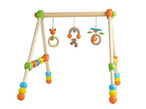 Bieco Spieltrapez | Spielbogen für Babys -Figuren, Rasseln, Kugeln- Höhenverstellbar | Spielebogen Holz Baby...