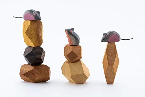 TRAUMHOLZIG Mäuse Familie - Waldorf Natur Spielzeug handgemacht aus hochwertigem Holz (+ Bausteine)