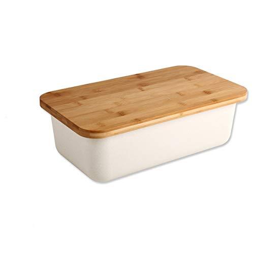 Gräfenstayn® Brotkasten mit integriertem Schneidebrett als Deckel (38,5 x 22 x 13cm) aus Bambus / 2-teilige...