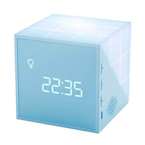 Homealexa Kinder Lichtwecker Creative Cube Wake Up Kinderwecker mit farbige Nachttischlampe Snooze-Funktion,...
