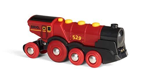 BRIO World 33592 Rote Lola elektrische Lok – Batterie-Lokomotive mit Licht & Sound – Kleinkinderspielzeug...