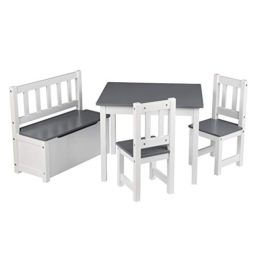 WOLTU SG014+SPK001 4tlg. Kindersitzgruppe Kindertisch mit 2 x Stühle und 1 x Spielzeugkiste, Tischgruppe für...