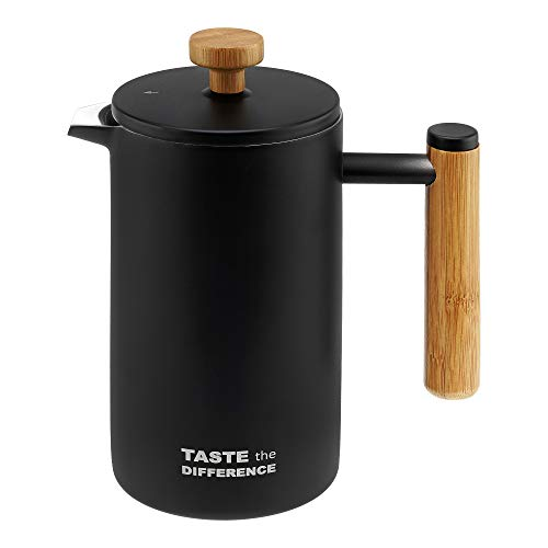 TASTE the DIFFERENCE French-Press aus Edelstahl im Bambus-Design [600ml] – Hochwertiger Kaffeebereiter inkl....