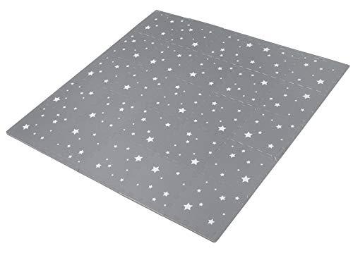edukit Puzzlematte Baby - 25 Stück; 31,5 cm x 31,5 cm; Extra Dicke; 1,2 cm - Nacht Sterne Dunkelgraue - mit...