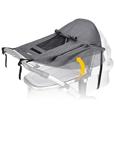 BON&BENE Kinderwagen Sonnensegel [anthrazit] - Sichtfenster und extra breite Schattenflügel - Sonnenschutz...
