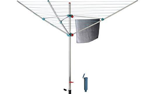 BLOME Wäschespinne Alustar XL - Wäscheständer inkl. Bodenhülse zum Eindrehen, Wäscheschirm mit 40m...