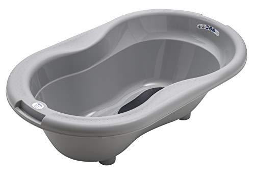 Rotho Babydesign TOP Badewanne, Mit Antirutschmatte und Ablaufstöpsel, 0-12 Monate, Stone Grey (Grau), 20001...