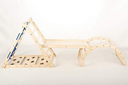 Lemurenling Set (Kletterdreieck, Rutsche und Bogen) - 87cm hohes Pikler Dreieck + Zubehör für Dein Kind ab...