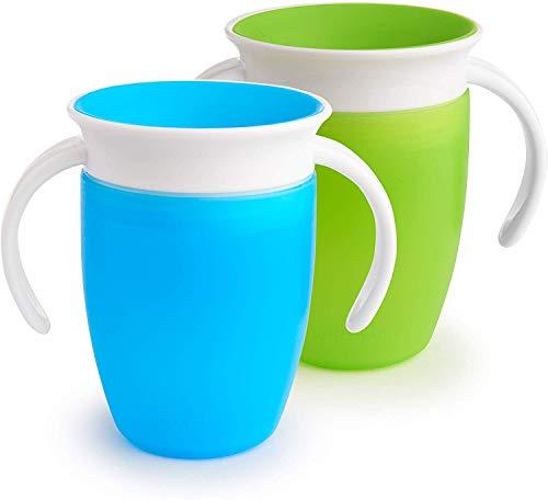 Munchkin Miracle 360ᵒ Trinklernbecher mit Griffen, auslaufsicher, ab 6 Monaten, blau/grün, 207 ml (2er...