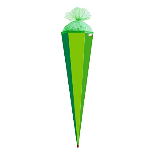 ROTH Bastelschultüte 85cm grün sechseckig - extra stabil durch Rot(h)-Spitze mit Tüll-Verschluss