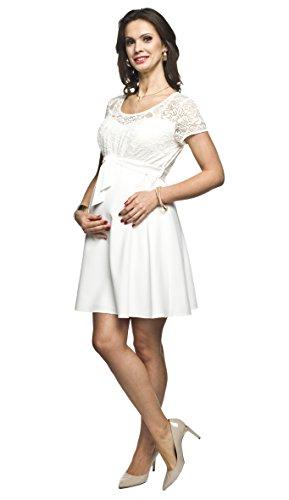 Elegantes und bequemes Umstandskleid, Brautkleid, Hochzeitskleid für Schwangere Modell: SANTIA, Creme, M