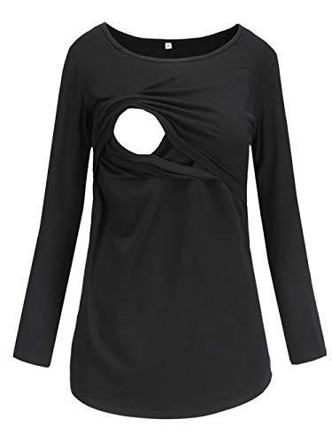Love2Mi Damen Schwangere Stillen Shirt Nursing Langarm Rundhals Top Schwangerschaft Umstandstop,Schwarz,XL