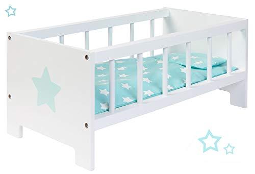 Puppenbett Sternchen aus Holz Bett Stern Holzbett Gitterbettchen (Weiß-Mint) (Mint-Türkis)