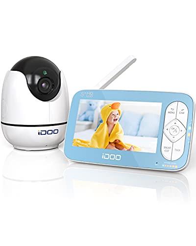 iDOO Babyphone mit Kamera, echtes 5' HD 720P Display Video Babyphone mit gegensprechfunktion, ferngesteuertes...