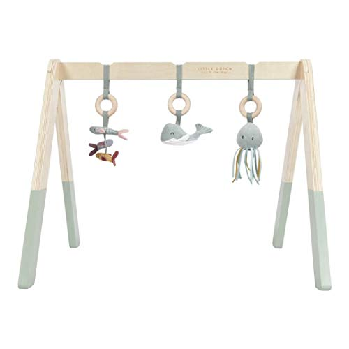 Tiamo Little Dutch 4835 Holz Baby Gym Spieltrapez mint Stoff Anhängern Ocean mint 67,5x18x6,2 cm