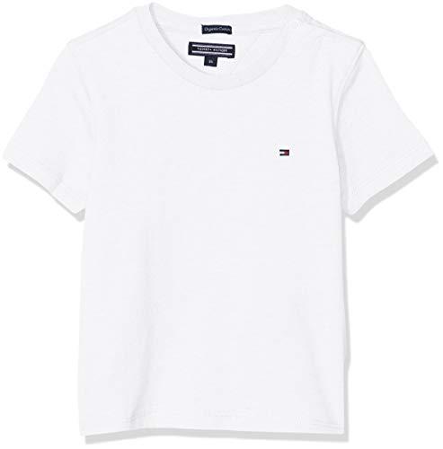 Tommy Hilfiger Jungen Boys Basic Cn Knit S/S T-Shirt, Weiß (Bright White 123), 128 (Herstellergröße: 8)