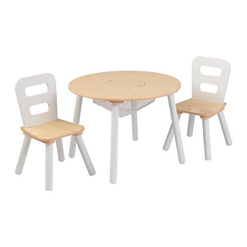 KidKraft 27027 Runder Tisch mit Aufbewahrungsfach und 2 Stühlen, Primärfarben